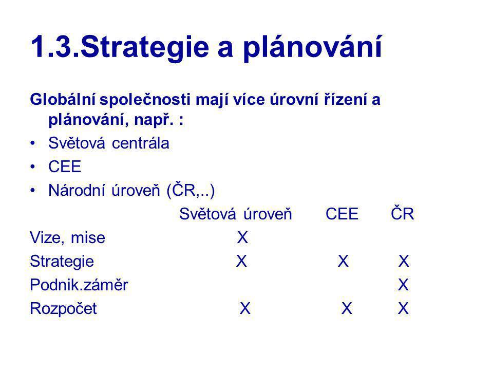 1.3.Strategie a plánování Globální společnosti mají více úrovní řízení a plánování, např. : Světová centrála.