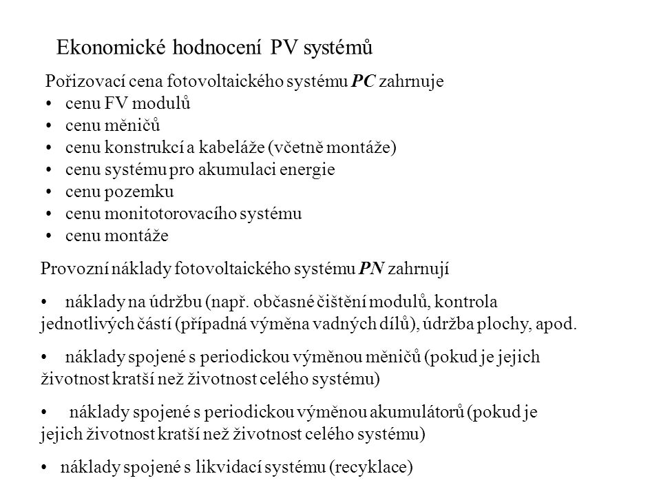 Ekonomické hodnocení PV systémů