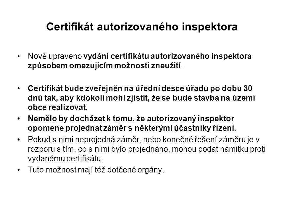 Certifikát autorizovaného inspektora