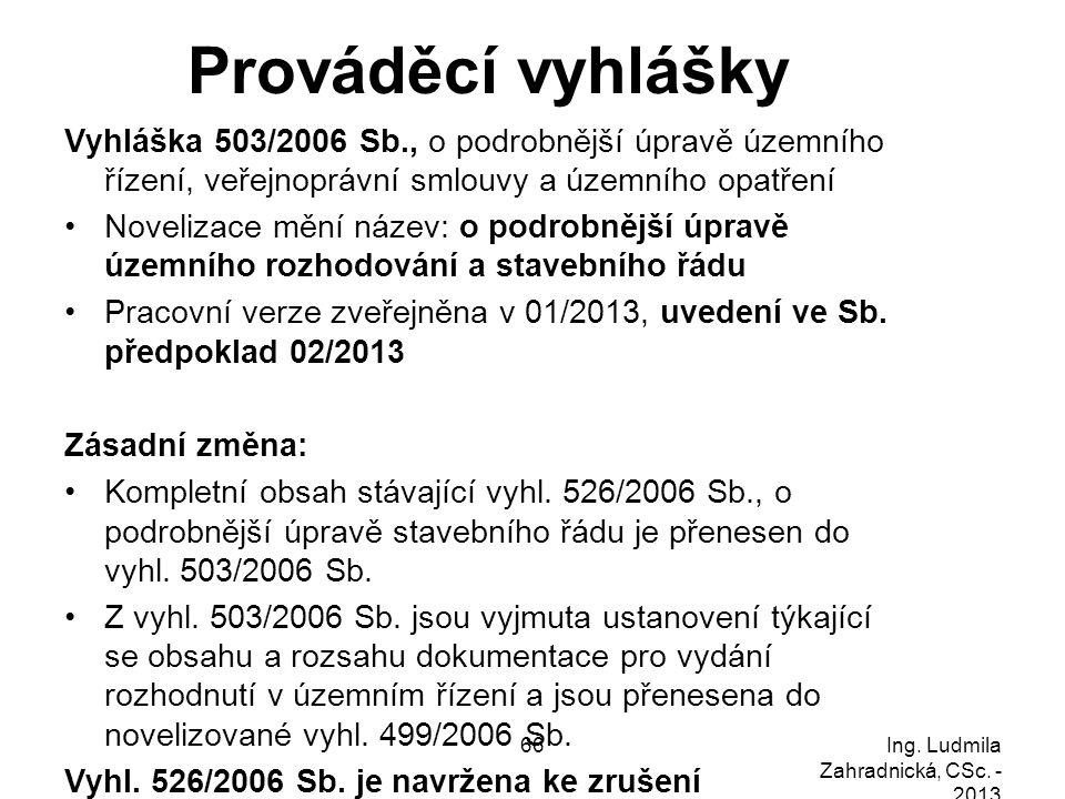 Prováděcí vyhlášky Vyhláška 503/2006 Sb., o podrobnější úpravě územního řízení, veřejnoprávní smlouvy a územního opatření.