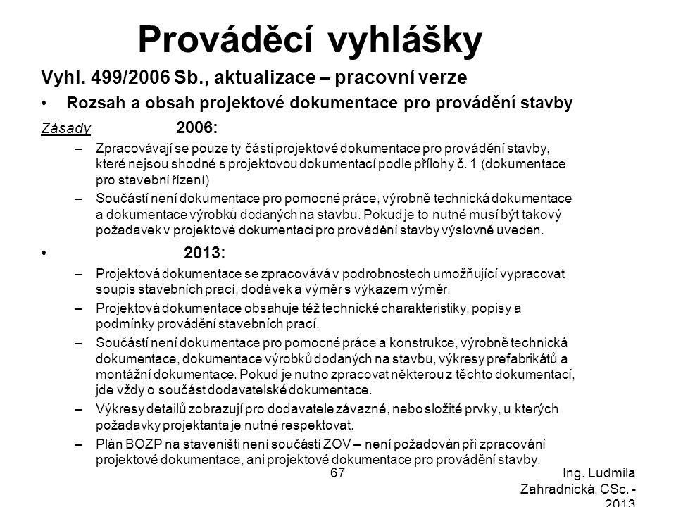 Prováděcí vyhlášky Vyhl. 499/2006 Sb., aktualizace – pracovní verze