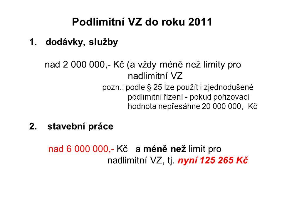 Podlimitní VZ do roku 2011 dodávky, služby