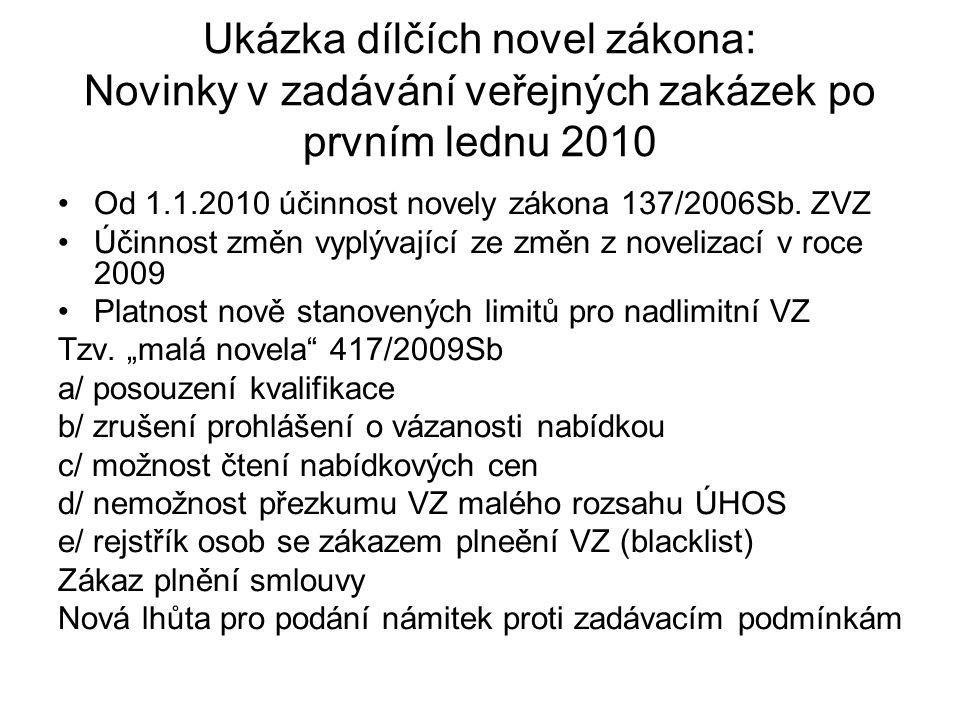 Ukázka dílčích novel zákona: Novinky v zadávání veřejných zakázek po prvním lednu 2010