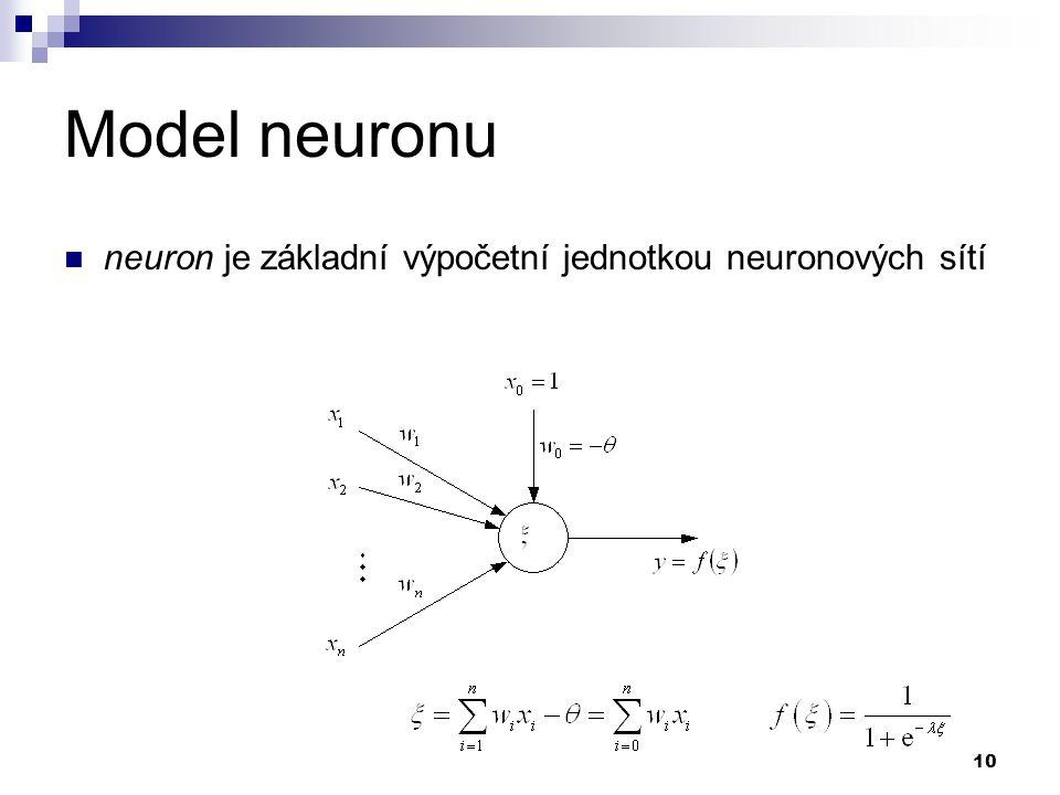 Model neuronu neuron je základní výpočetní jednotkou neuronových sítí