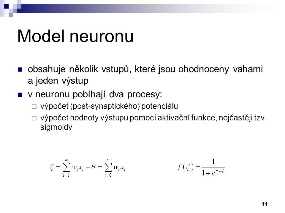 Model neuronu obsahuje několik vstupů, které jsou ohodnoceny vahami a jeden výstup. v neuronu pobíhají dva procesy: