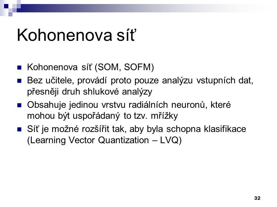 Kohonenova síť Kohonenova síť (SOM, SOFM)