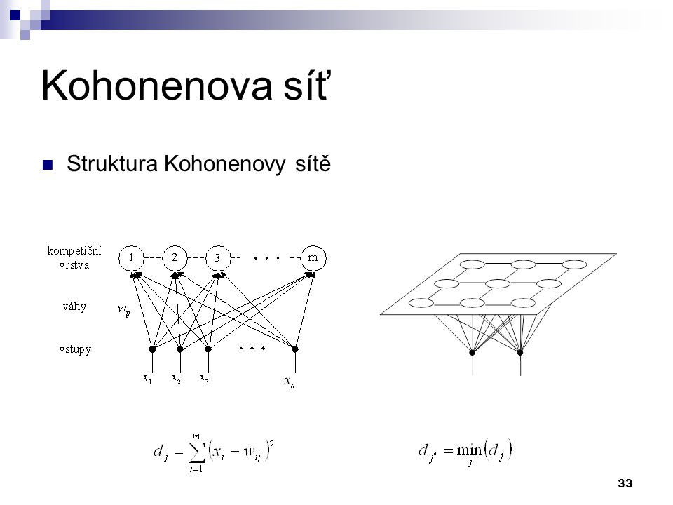 Kohonenova síť Struktura Kohonenovy sítě