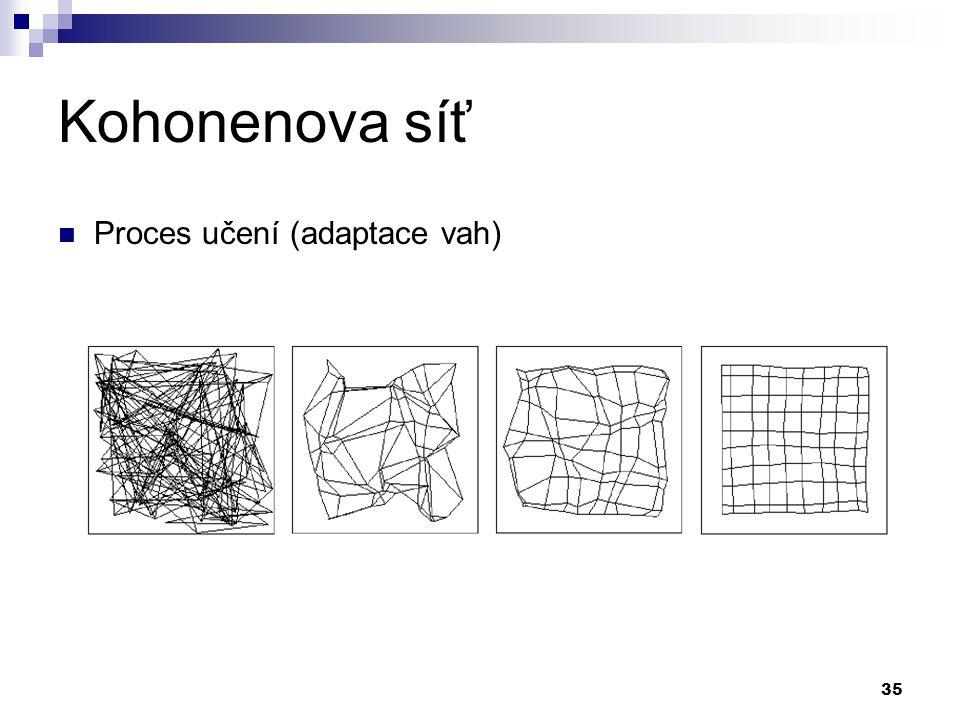 Kohonenova síť Proces učení (adaptace vah)