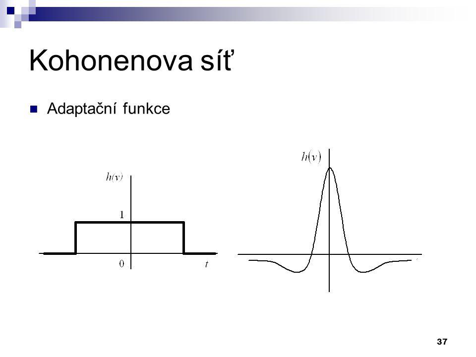 Kohonenova síť Adaptační funkce