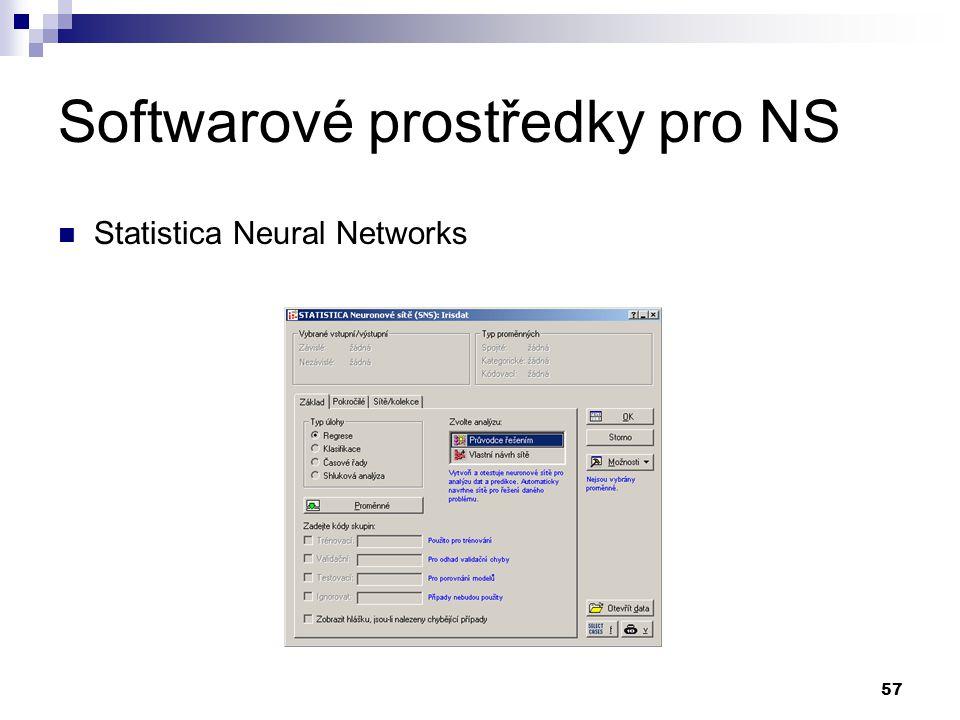 Softwarové prostředky pro NS