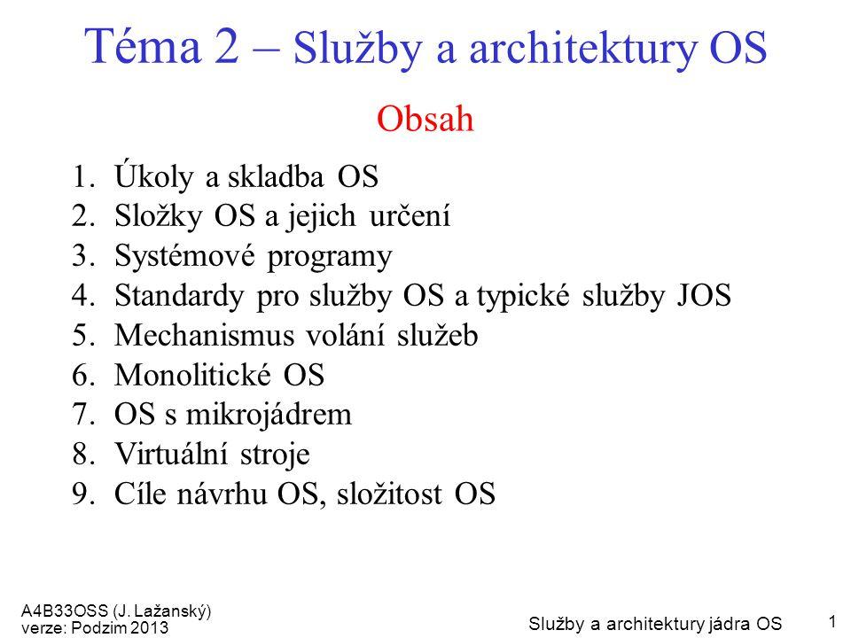 Téma 2 – Služby a architektury OS