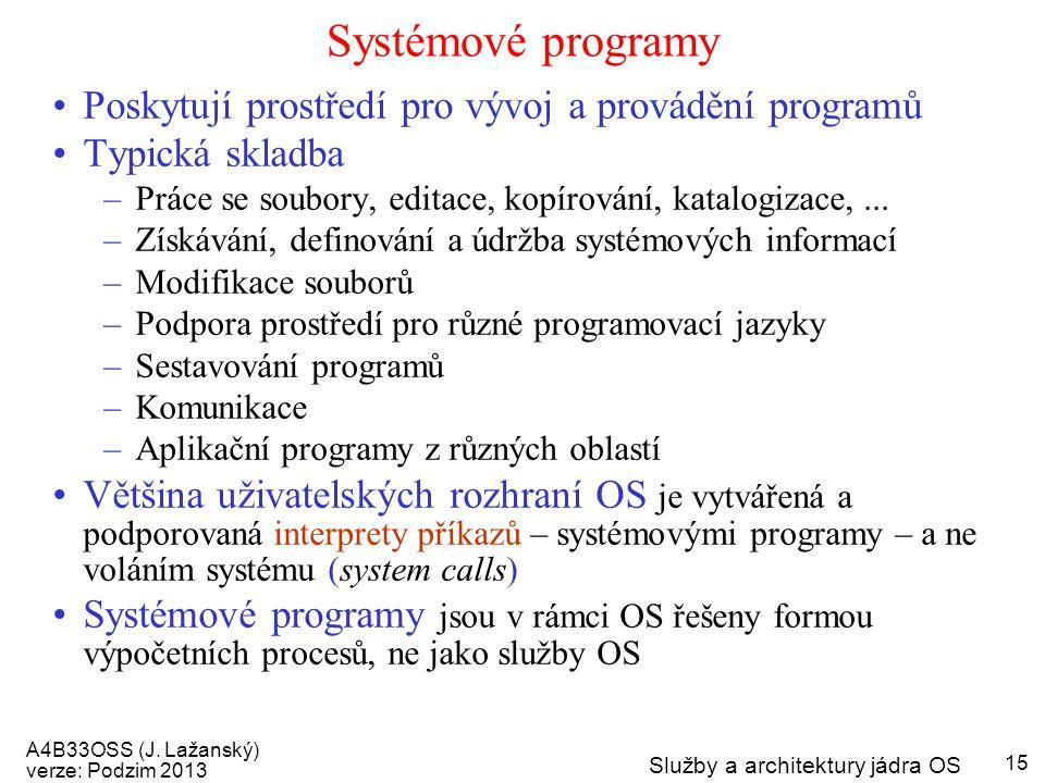 Systémové programy Poskytují prostředí pro vývoj a provádění programů