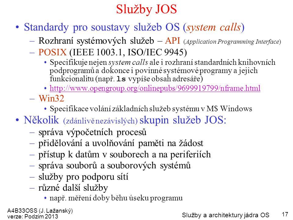 Služby JOS Standardy pro soustavy služeb OS (system calls)