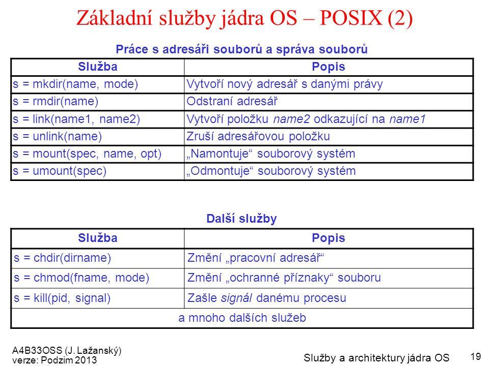Základní služby jádra OS – POSIX (2)