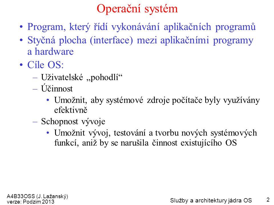 Operační systém Program, který řídí vykonávání aplikačních programů