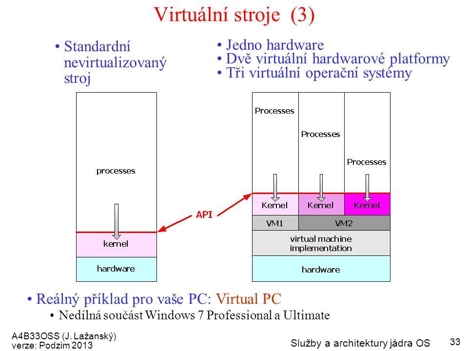 Virtuální stroje (3) Standardní nevirtualizovaný stroj Jedno hardware