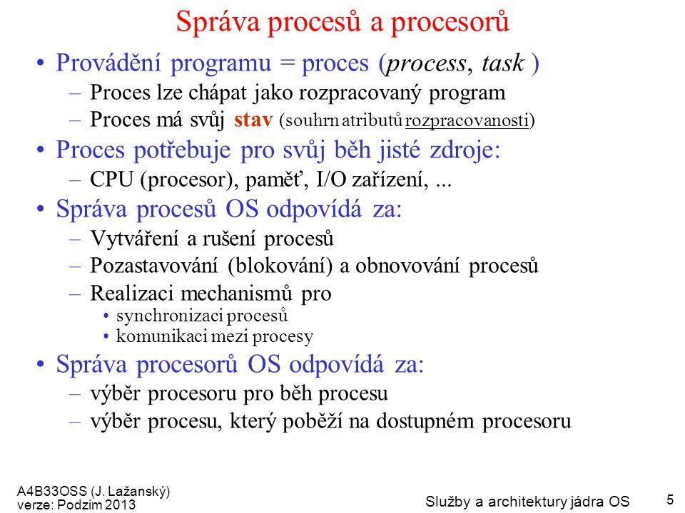 Správa procesů a procesorů