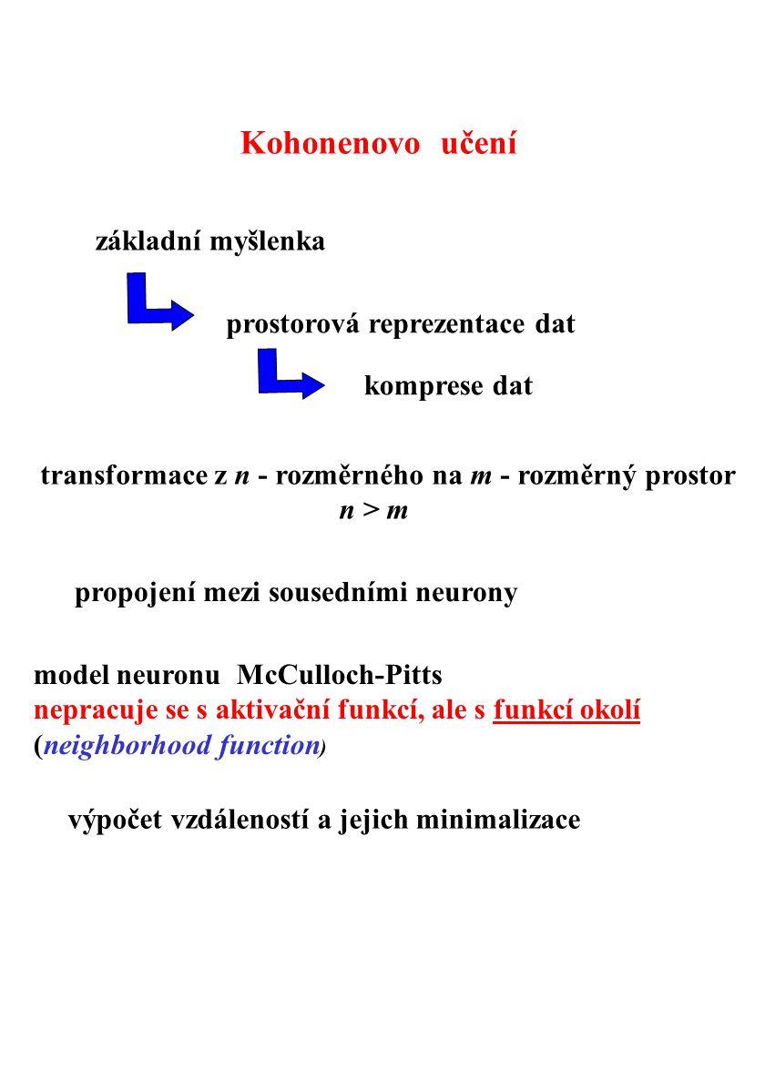 Kohonenovo učení základní myšlenka prostorová reprezentace dat