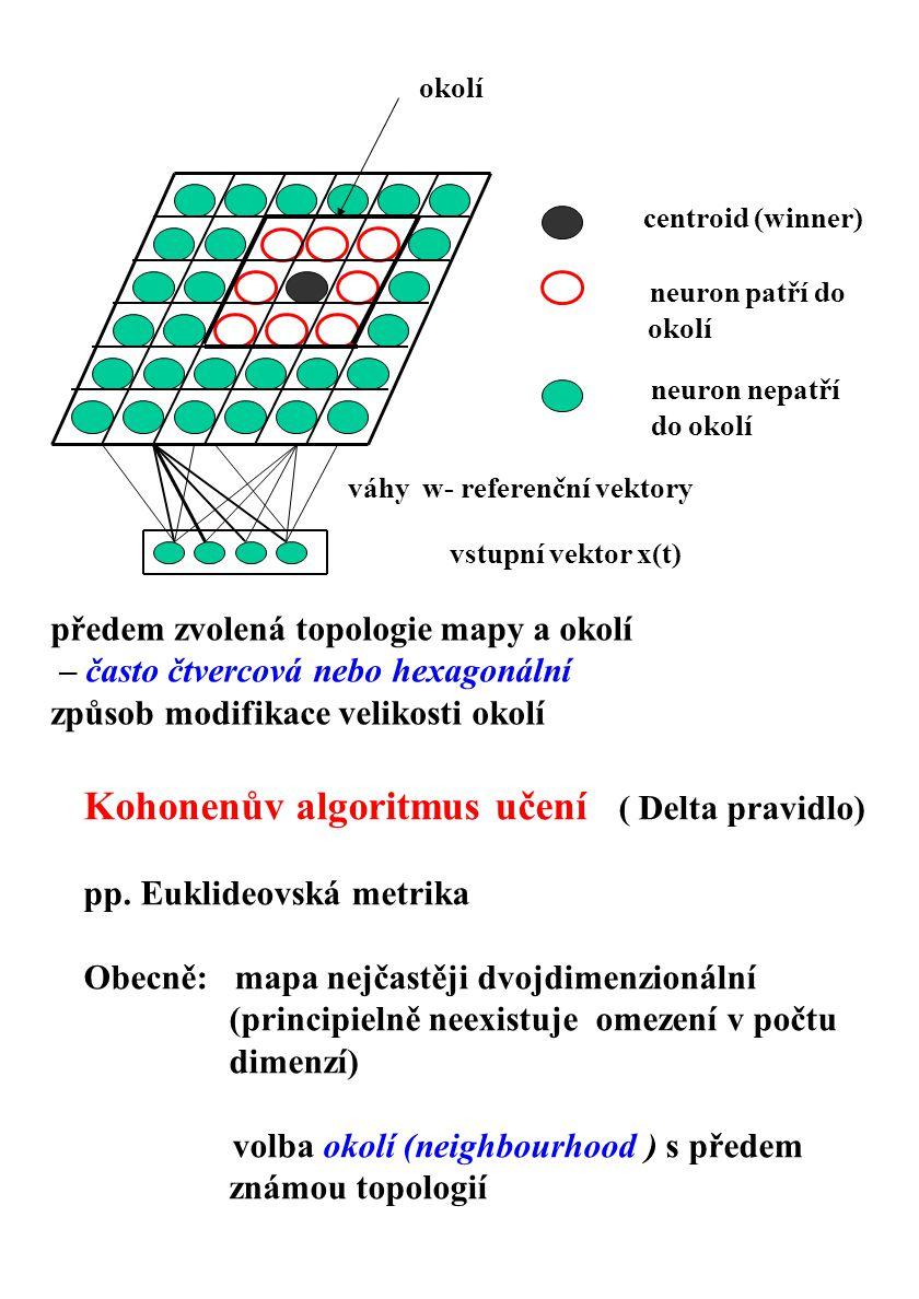 Kohonenův algoritmus učení ( Delta pravidlo)