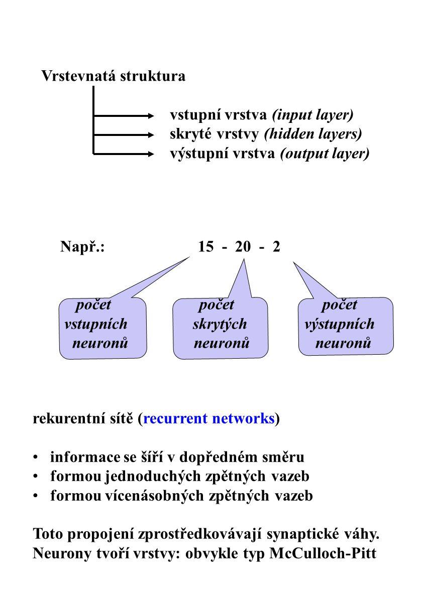 Vrstevnatá struktura vstupní vrstva (input layer) skryté vrstvy (hidden layers) výstupní vrstva (output layer)