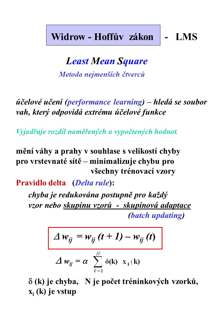 Widrow - Hoffův zákon - LMS Least Mean Square