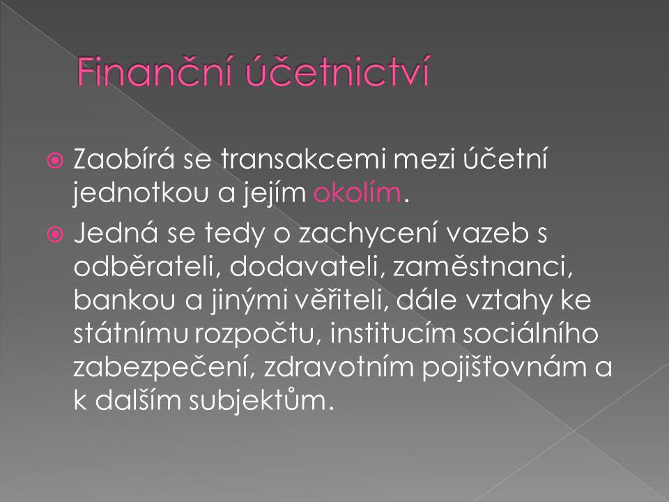 Finanční účetnictví Zaobírá se transakcemi mezi účetní jednotkou a jejím okolím.