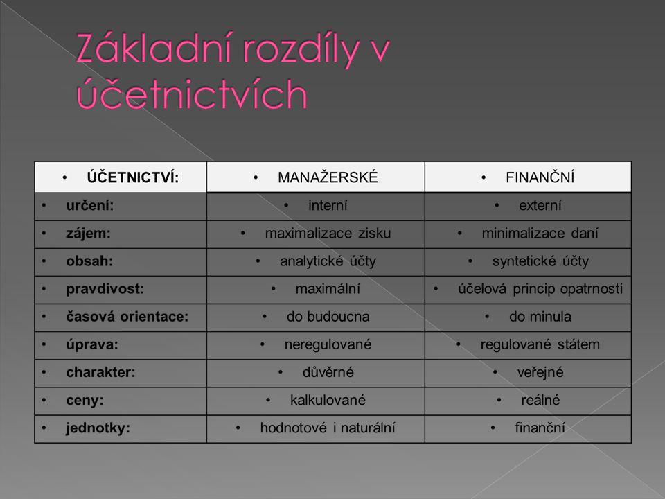 Základní rozdíly v účetnictvích
