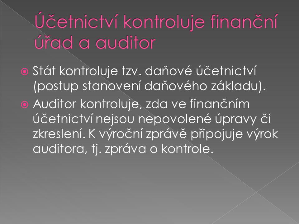 Účetnictví kontroluje finanční úřad a auditor