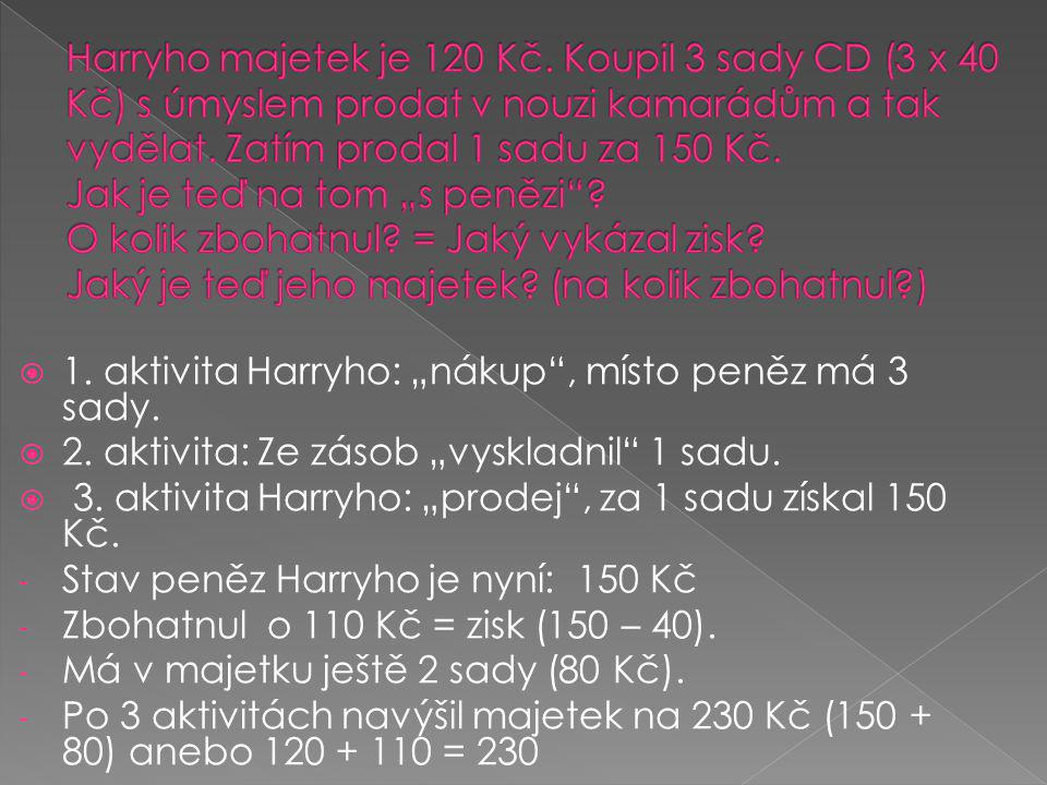 """Harryho majetek je 120 Kč. Koupil 3 sady CD (3 x 40 Kč) s úmyslem prodat v nouzi kamarádům a tak vydělat. Zatím prodal 1 sadu za 150 Kč. Jak je teď na tom """"s penězi O kolik zbohatnul = Jaký vykázal zisk Jaký je teď jeho majetek (na kolik zbohatnul )"""