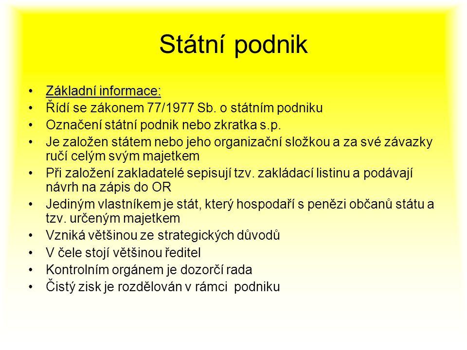 Státní podnik Základní informace: