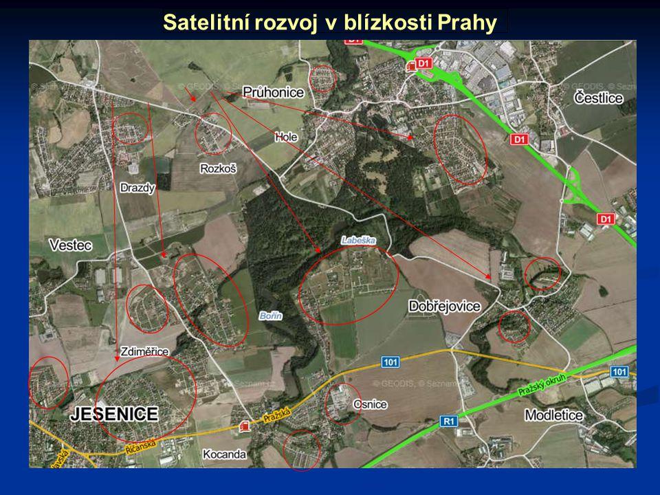 Satelitní rozvoj v blízkosti Prahy