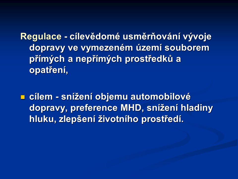 Regulace - cílevědomé usměrňování vývoje dopravy ve vymezeném území souborem přímých a nepřímých prostředků a opatření,