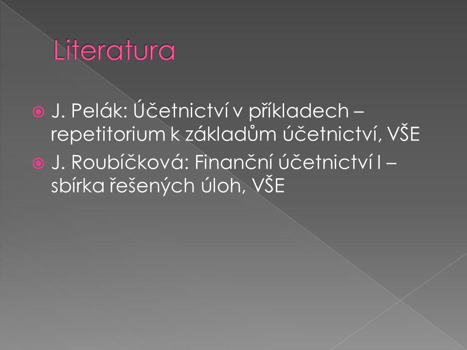 Literatura J. Pelák: Účetnictví v příkladech – repetitorium k základům účetnictví, VŠE.