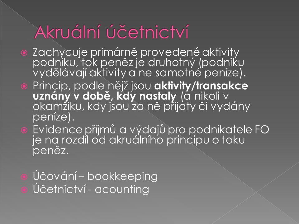 Akruální účetnictví Zachycuje primárně provedené aktivity podniku, tok peněz je druhotný (podniku vydělávají aktivity a ne samotné peníze).