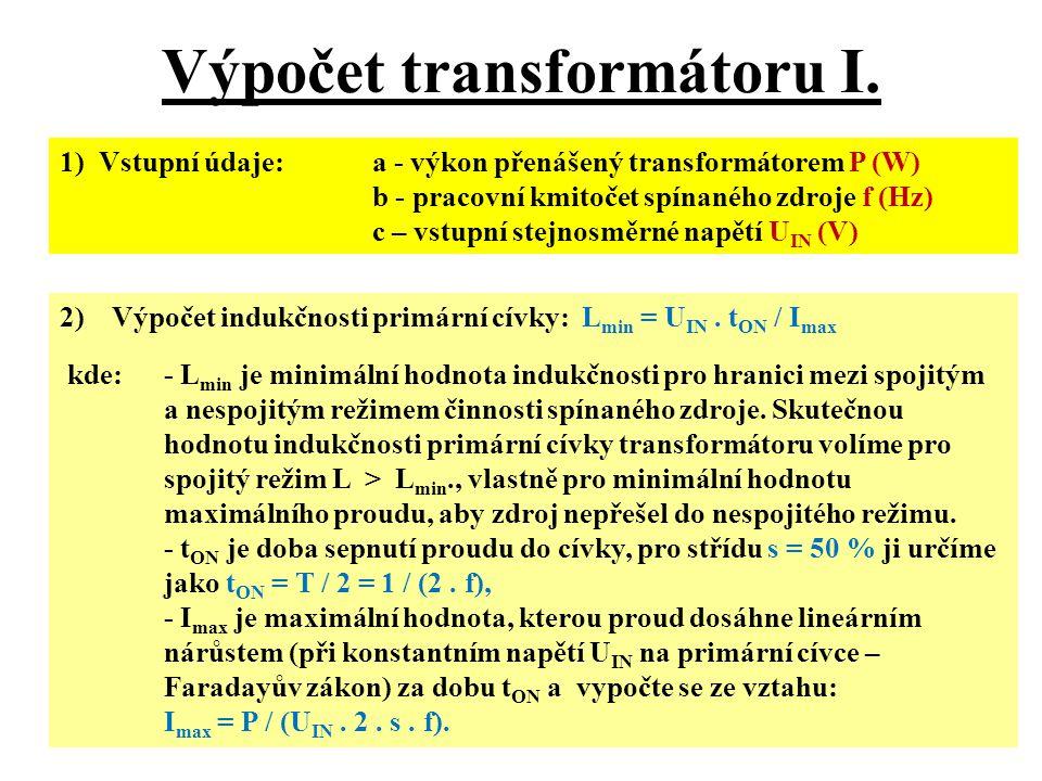 Výpočet transformátoru I.
