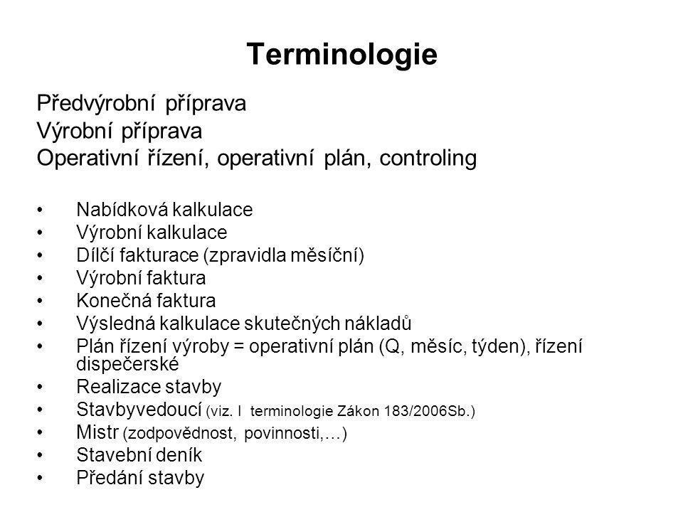 Terminologie Předvýrobní příprava Výrobní příprava