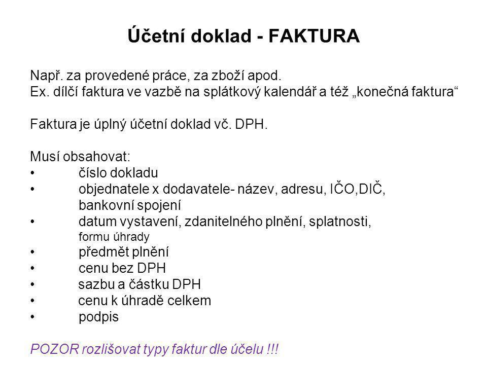 Účetní doklad - FAKTURA