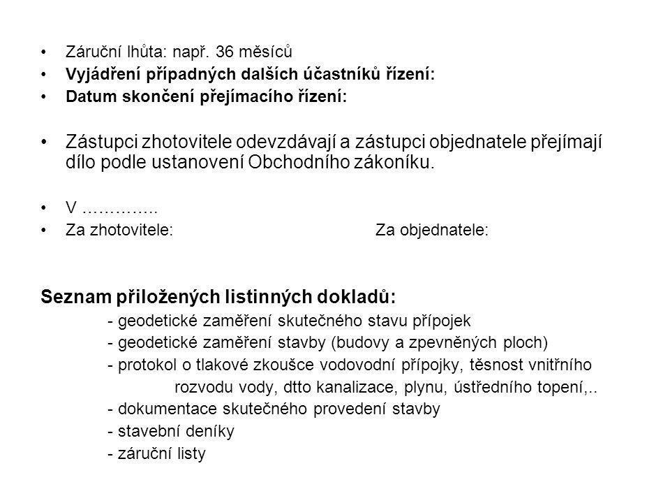 Seznam přiložených listinných dokladů: