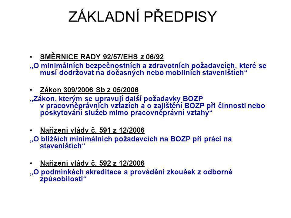 ZÁKLADNÍ PŘEDPISY SMĚRNICE RADY 92/57/EHS z 06/92
