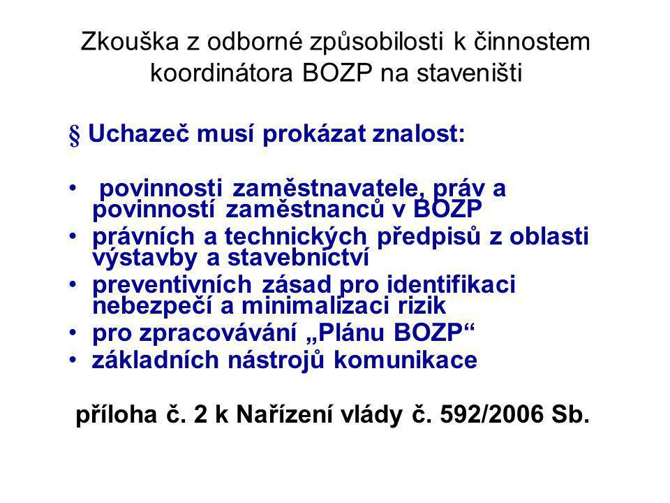 Zkouška z odborné způsobilosti k činnostem koordinátora BOZP na staveništi