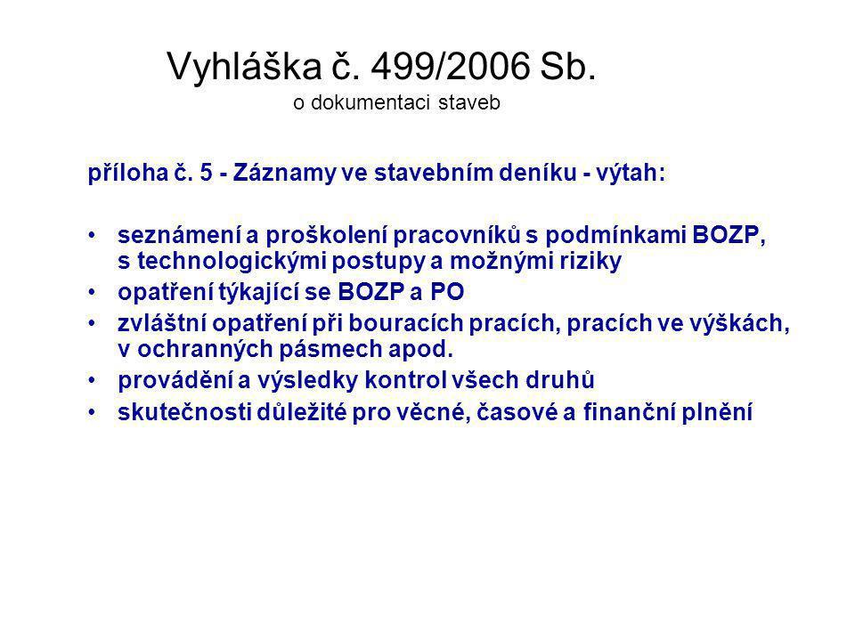Vyhláška č. 499/2006 Sb. o dokumentaci staveb