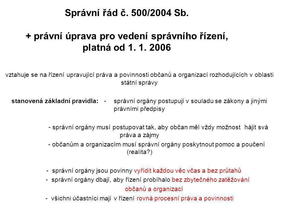 Správní řád č. 500/2004 Sb. + právní úprava pro vedení správního řízení, platná od 1. 1. 2006