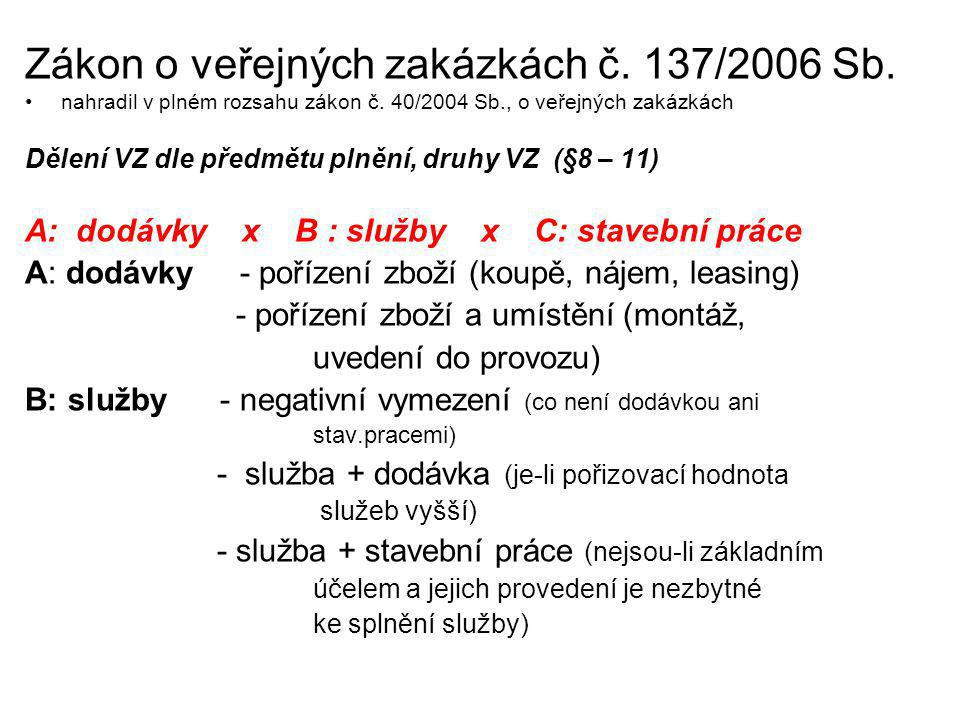 Zákon o veřejných zakázkách č. 137/2006 Sb.