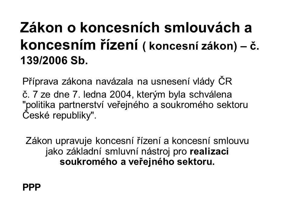 Zákon o koncesních smlouvách a koncesním řízení ( koncesní zákon) – č