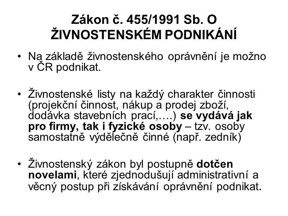 Zákon č. 455/1991 Sb. O ŽIVNOSTENSKÉM PODNIKÁNÍ