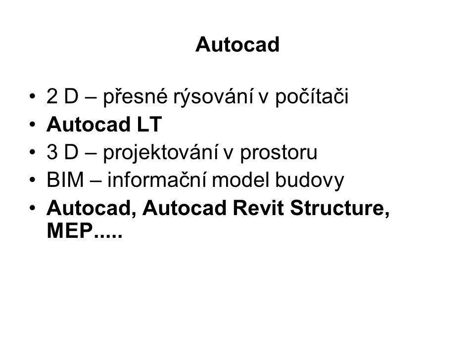 Autocad 2 D – přesné rýsování v počítači. Autocad LT. 3 D – projektování v prostoru. BIM – informační model budovy.