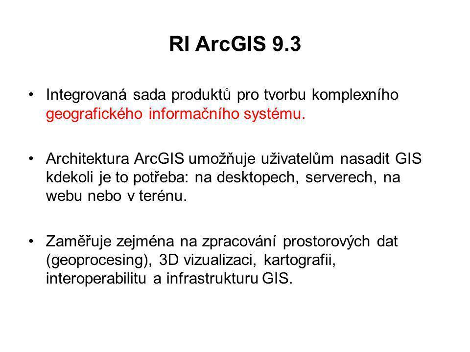 RI ArcGIS 9.3 Integrovaná sada produktů pro tvorbu komplexního geografického informačního systému.