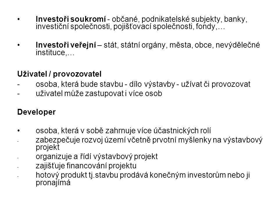 Investoři soukromí - občané, podnikatelské subjekty, banky, investiční společnosti, pojišťovací společnosti, fondy,…
