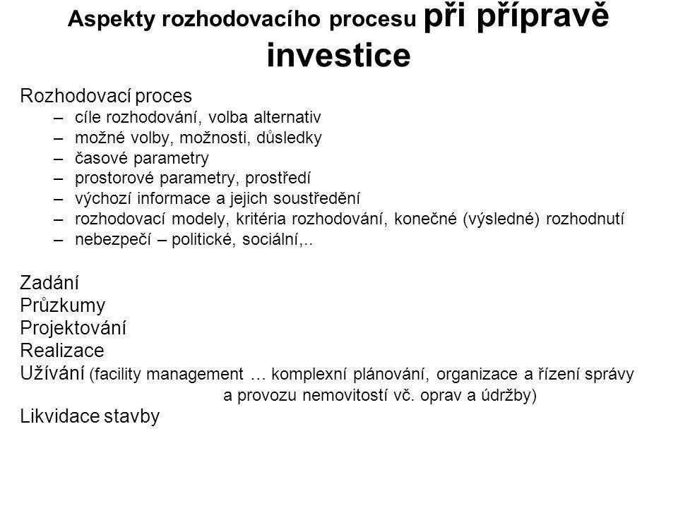 Aspekty rozhodovacího procesu při přípravě investice