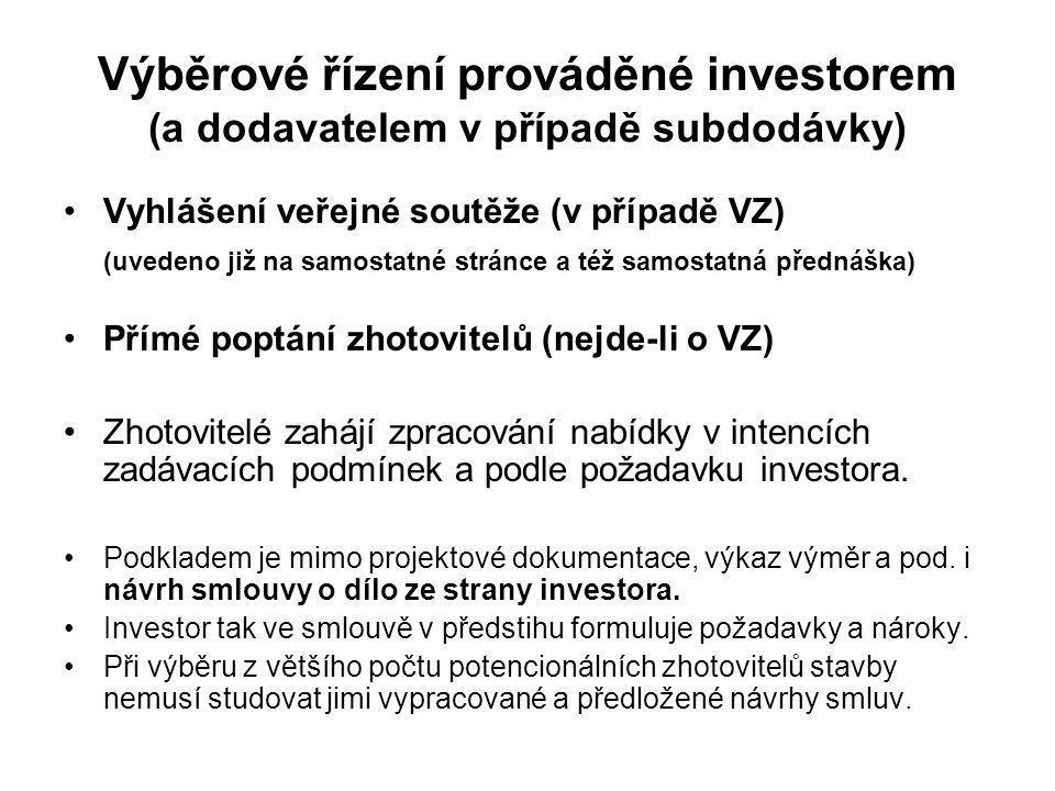 Výběrové řízení prováděné investorem (a dodavatelem v případě subdodávky)